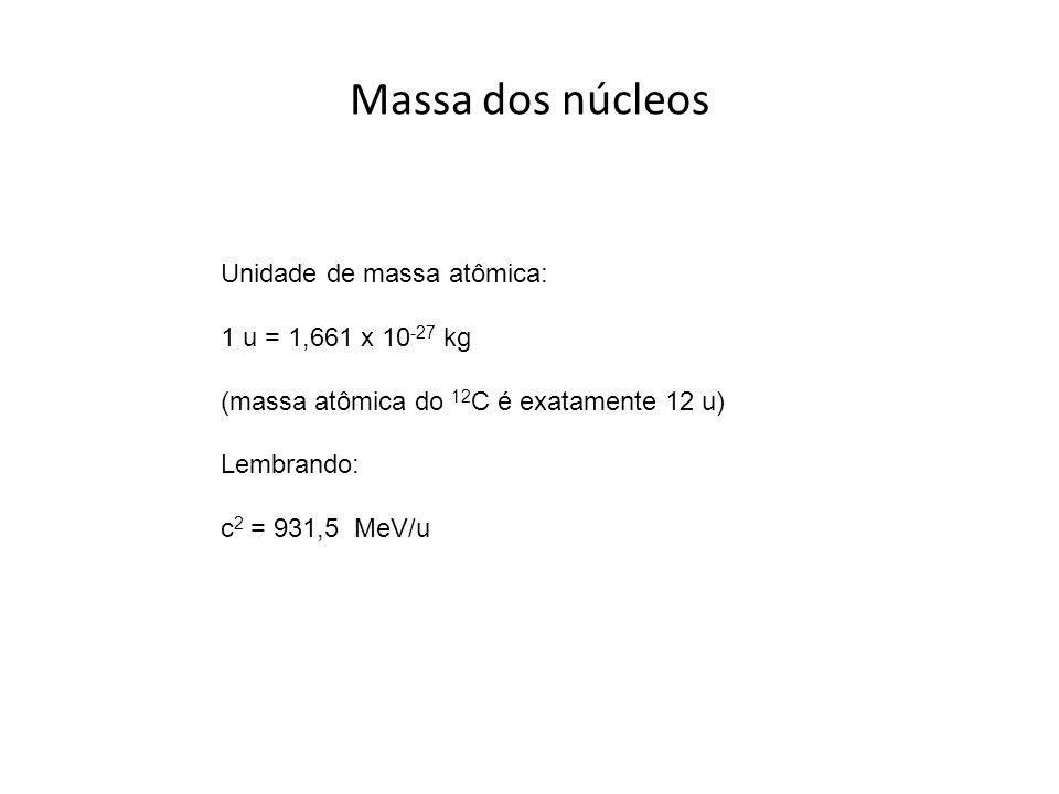 Massa dos núcleos Unidade de massa atômica: 1 u = 1,661 x 10-27 kg