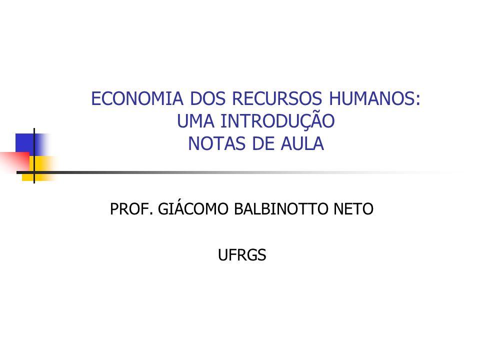 ECONOMIA DOS RECURSOS HUMANOS: UMA INTRODUÇÃO NOTAS DE AULA
