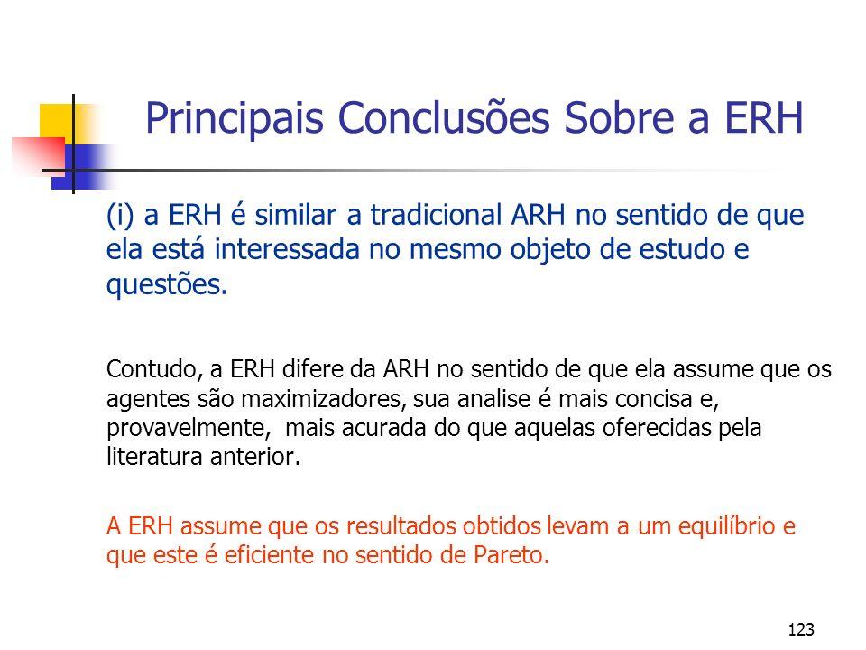 Principais Conclusões Sobre a ERH