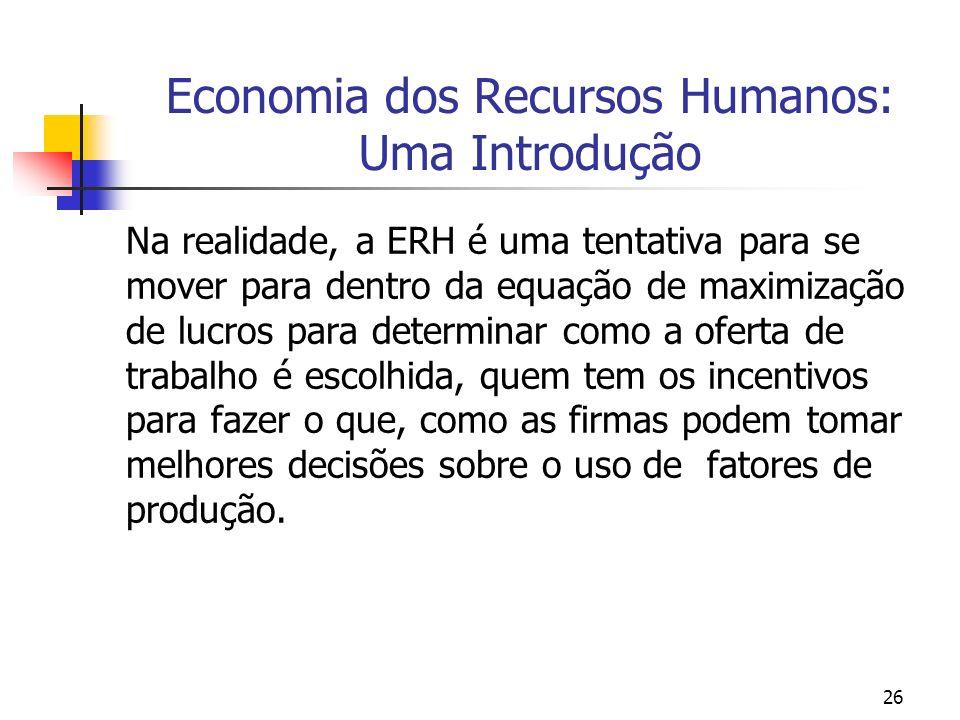 Economia dos Recursos Humanos: Uma Introdução
