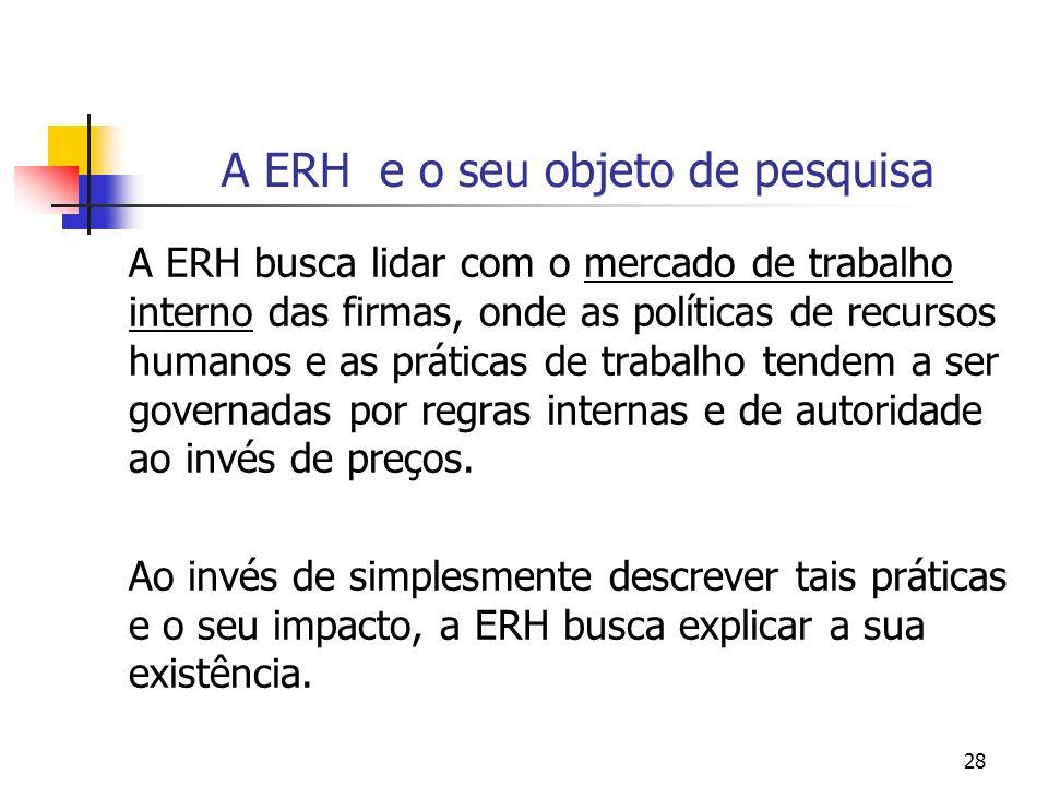 A ERH e o seu objeto de pesquisa