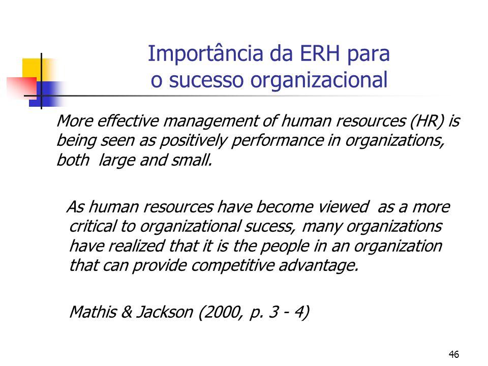 Importância da ERH para o sucesso organizacional
