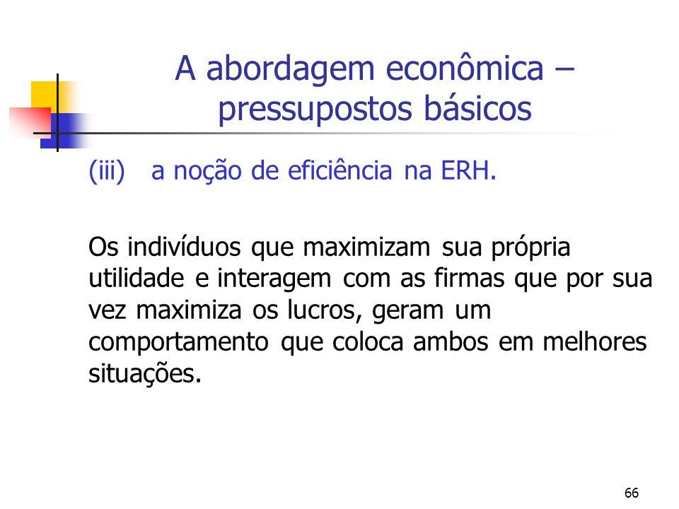 A abordagem econômica – pressupostos básicos