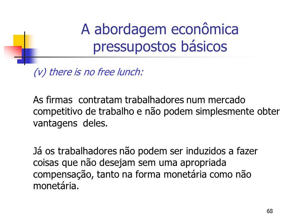 A abordagem econômica pressupostos básicos