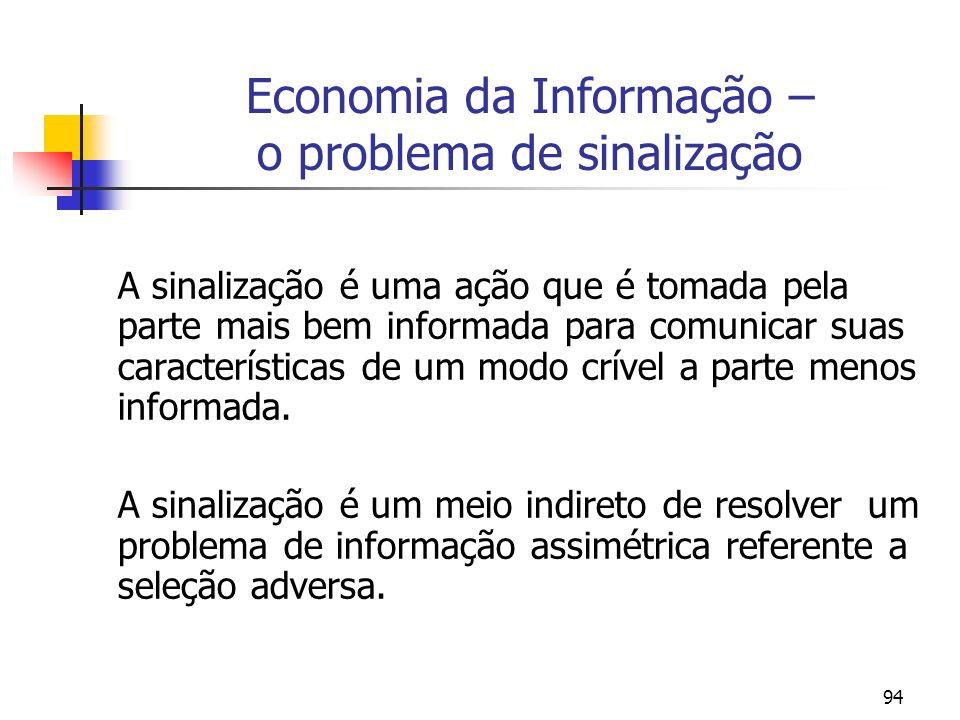 Economia da Informação – o problema de sinalização