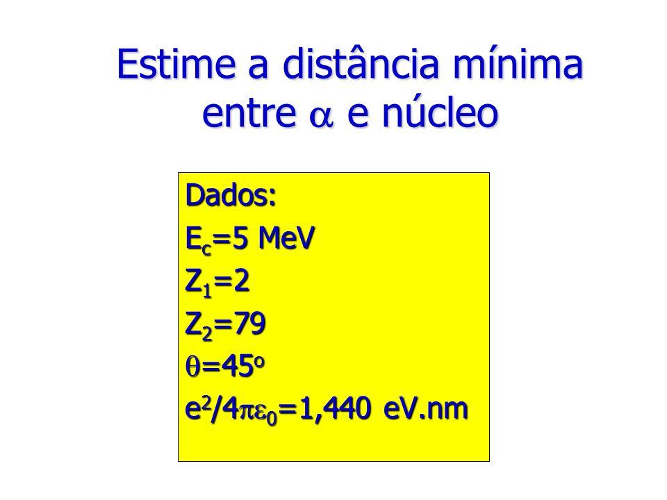 Estime a distância mínima entre  e núcleo