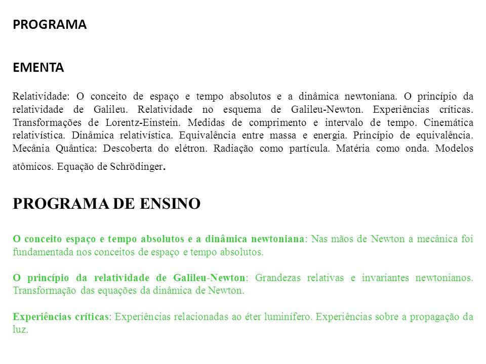 PROGRAMA DE ENSINO PROGRAMA EMENTA