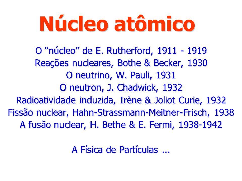 Núcleo atômico O núcleo de E. Rutherford, 1911 - 1919