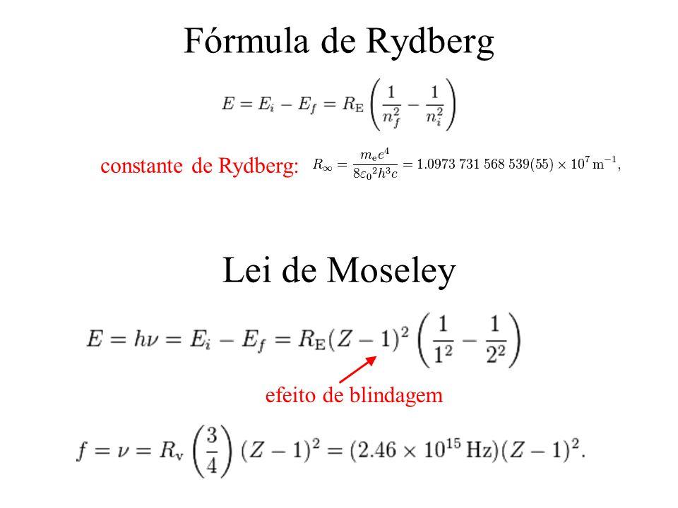 Fórmula de Rydberg Lei de Moseley constante de Rydberg: