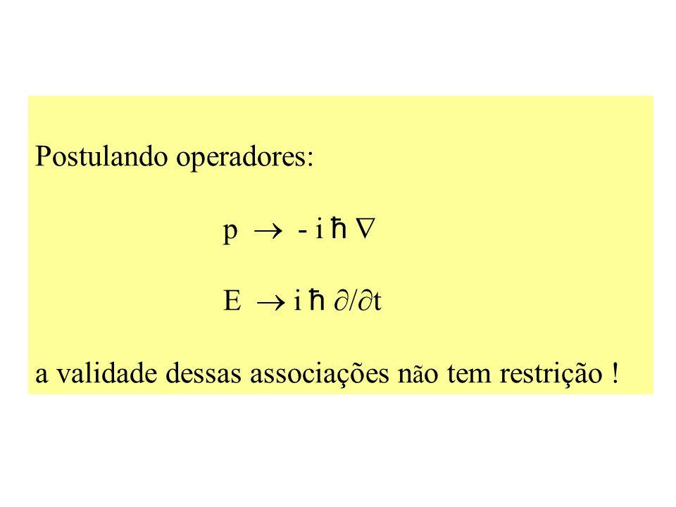 Postulando operadores: p  - i ħ  E  i ħ /t a validade dessas associações não tem restrição !
