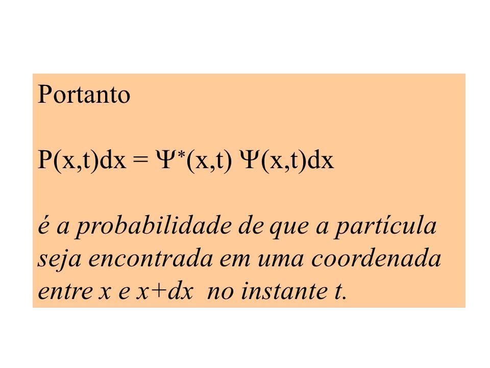 Portanto P(x,t)dx = Y*(x,t) Y(x,t)dx é a probabilidade de que a partícula seja encontrada em uma coordenada entre x e x+dx no instante t.