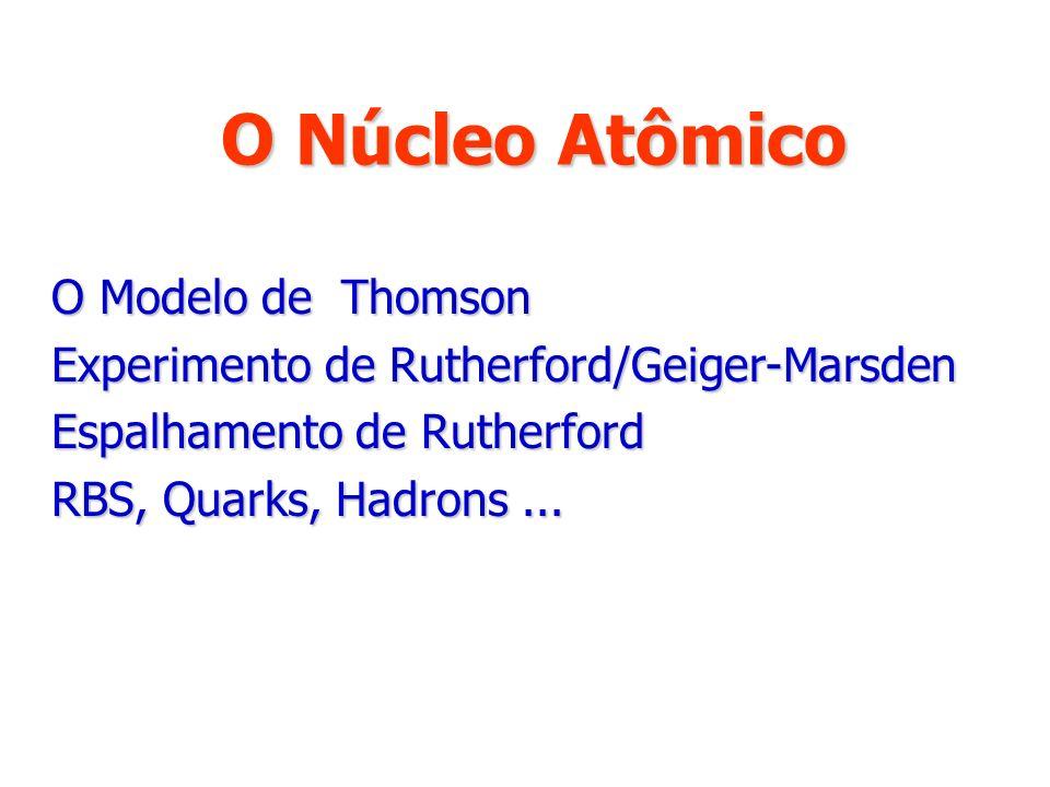 O Núcleo Atômico O Modelo de Thomson