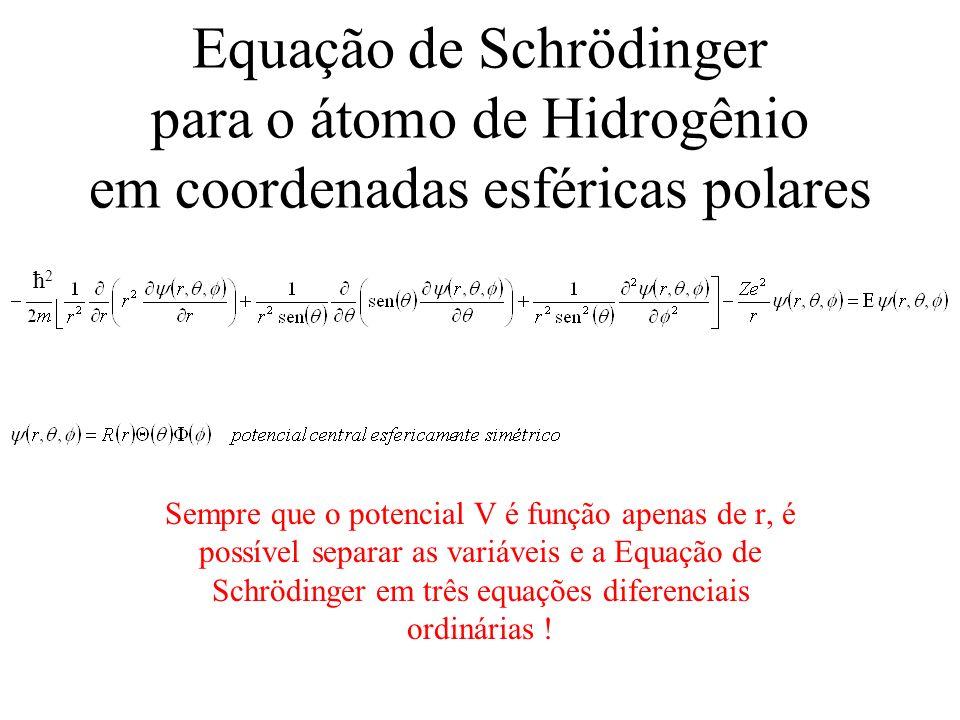 Equação de Schrödinger para o átomo de Hidrogênio em coordenadas esféricas polares