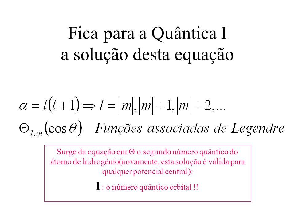 Fica para a Quântica I a solução desta equação