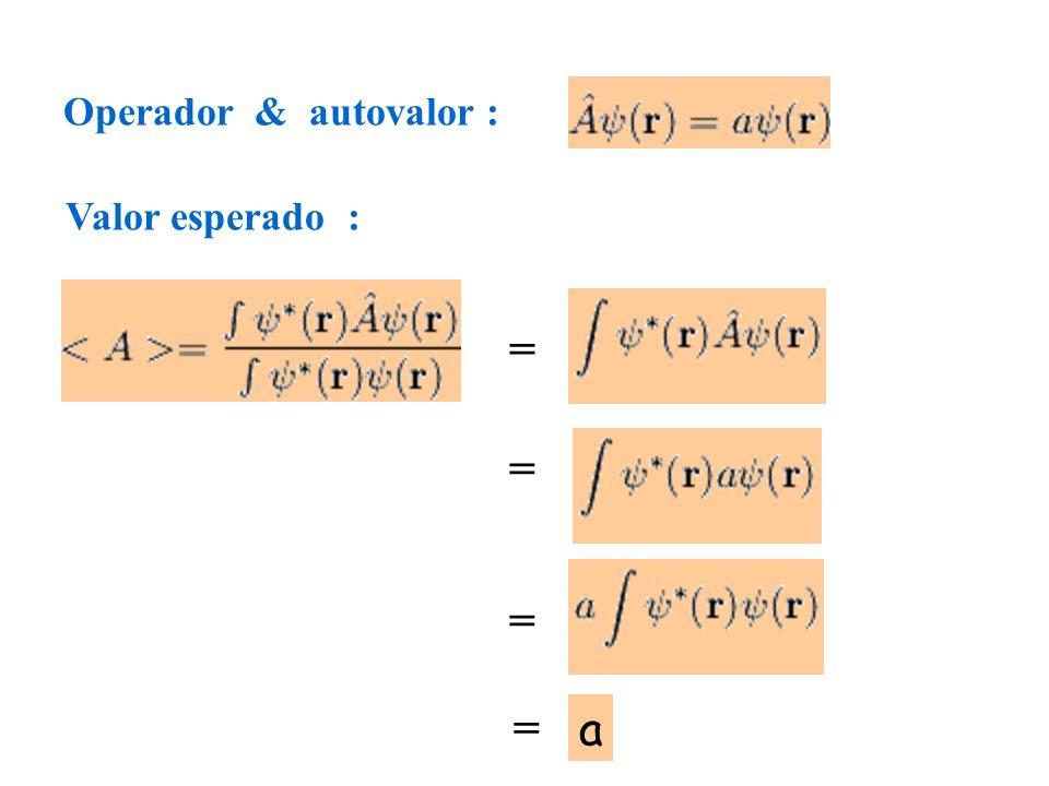 Operador & autovalor : Valor esperado : = = = = a