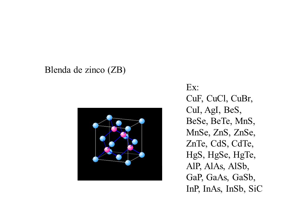 Blenda de zinco (ZB) Ex: