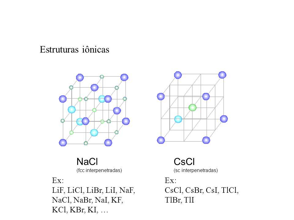 Estruturas iônicas NaCl CsCl Ex: