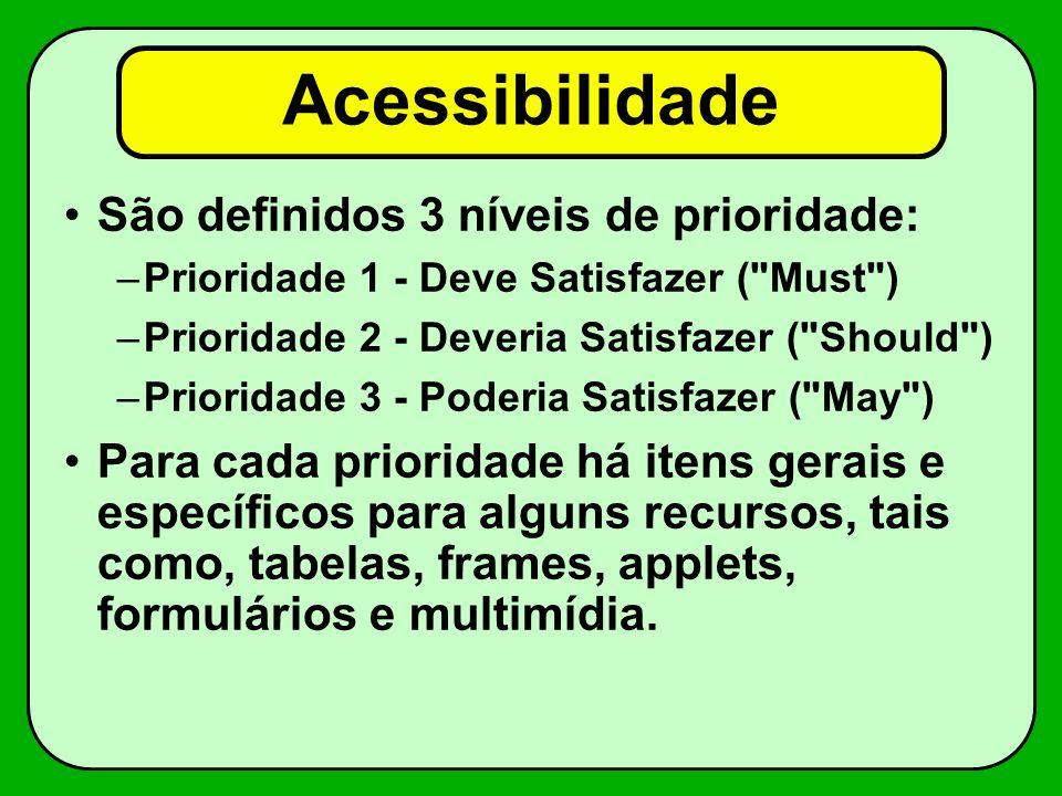 Acessibilidade São definidos 3 níveis de prioridade: