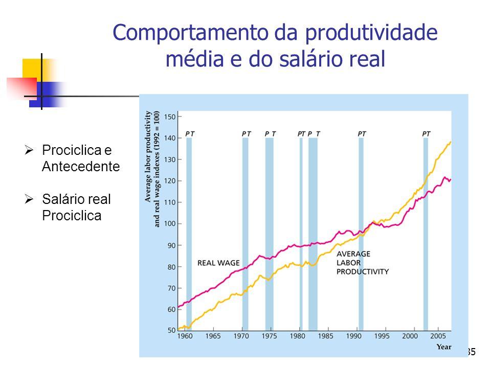 Comportamento da produtividade média e do salário real