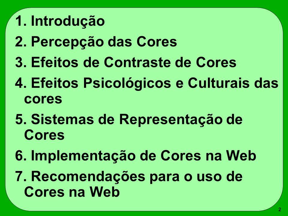 1. Introdução 2. Percepção das Cores. 3. Efeitos de Contraste de Cores. 4. Efeitos Psicológicos e Culturais das cores.