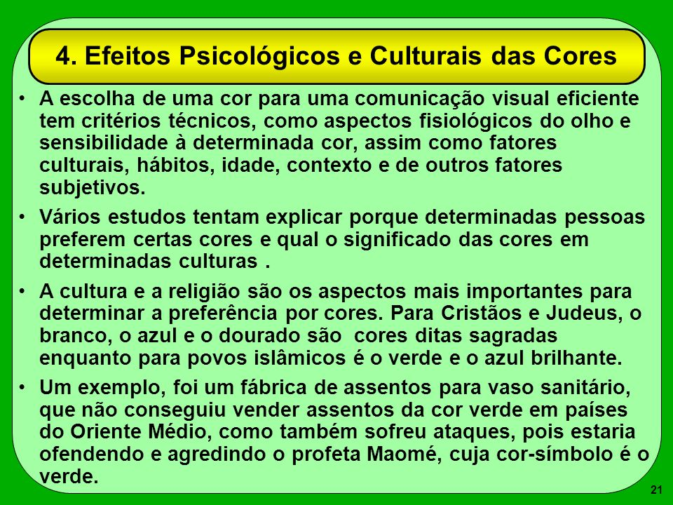 4. Efeitos Psicológicos e Culturais das Cores
