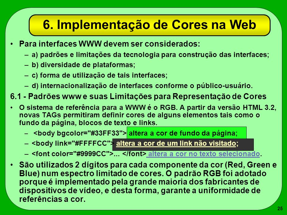 6. Implementação de Cores na Web