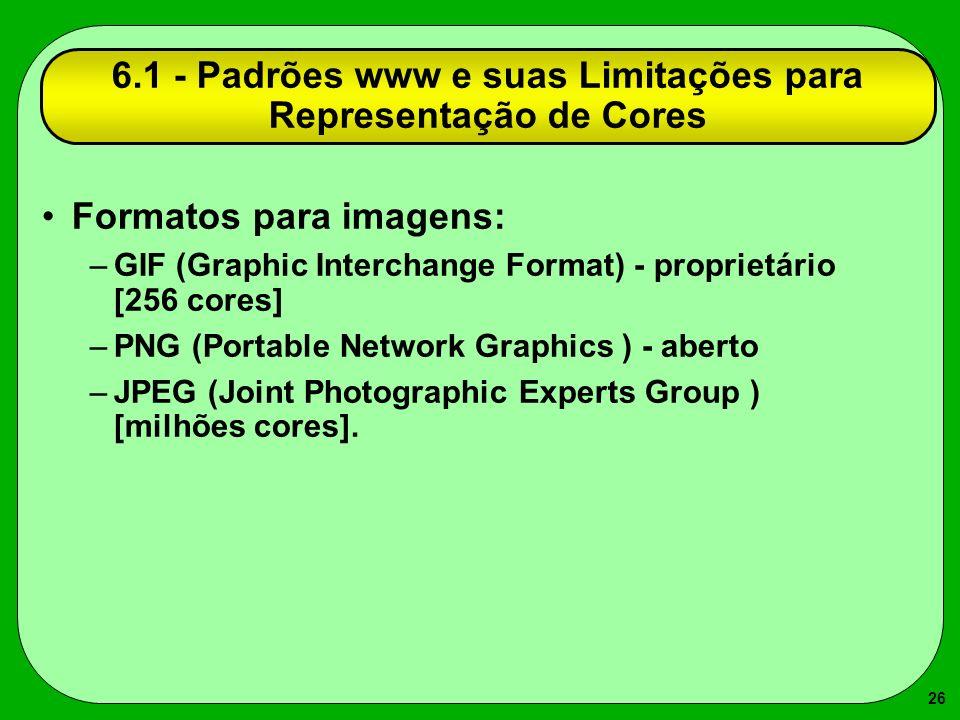 6.1 - Padrões www e suas Limitações para Representação de Cores