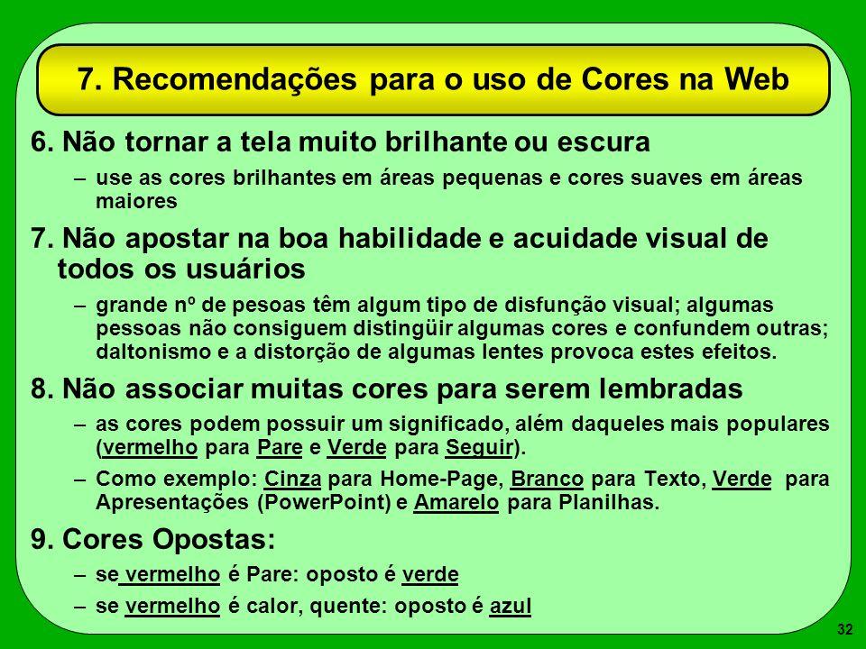 7. Recomendações para o uso de Cores na Web