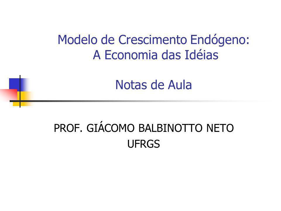 Modelo de Crescimento Endógeno: A Economia das Idéias Notas de Aula