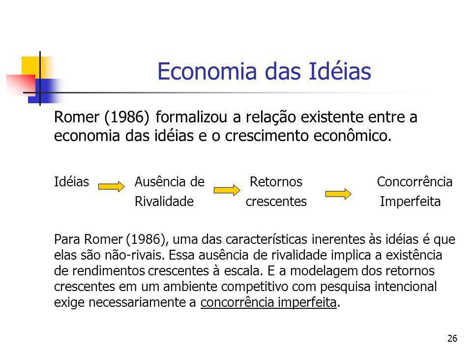 Economia das IdéiasRomer (1986) formalizou a relação existente entre a economia das idéias e o crescimento econômico.
