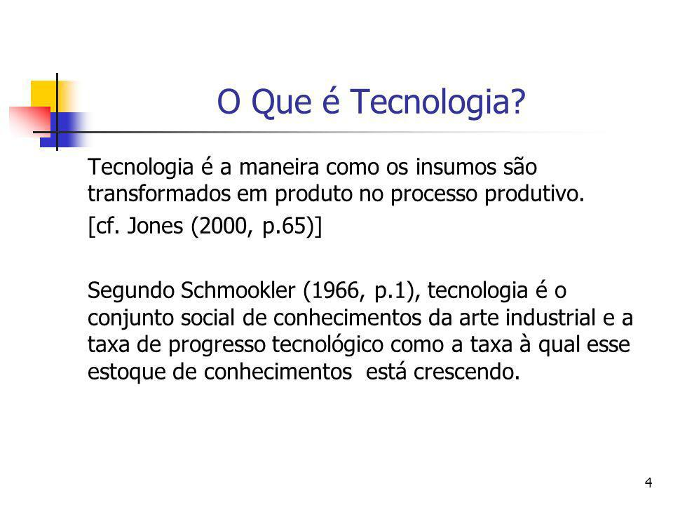 O Que é Tecnologia Tecnologia é a maneira como os insumos são transformados em produto no processo produtivo.