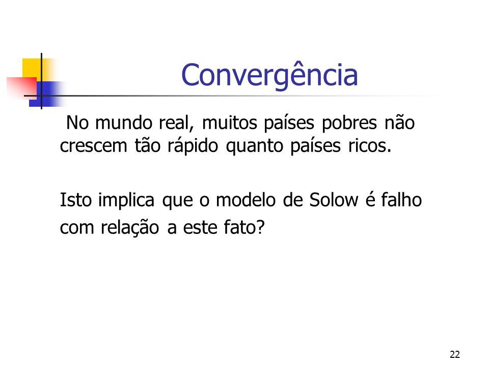 Convergência No mundo real, muitos países pobres não crescem tão rápido quanto países ricos. Isto implica que o modelo de Solow é falho.