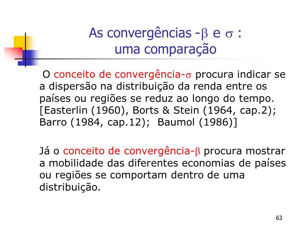 As convergências - e  : uma comparação