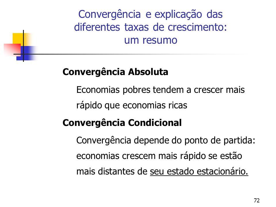 Convergência e explicação das diferentes taxas de crescimento: um resumo
