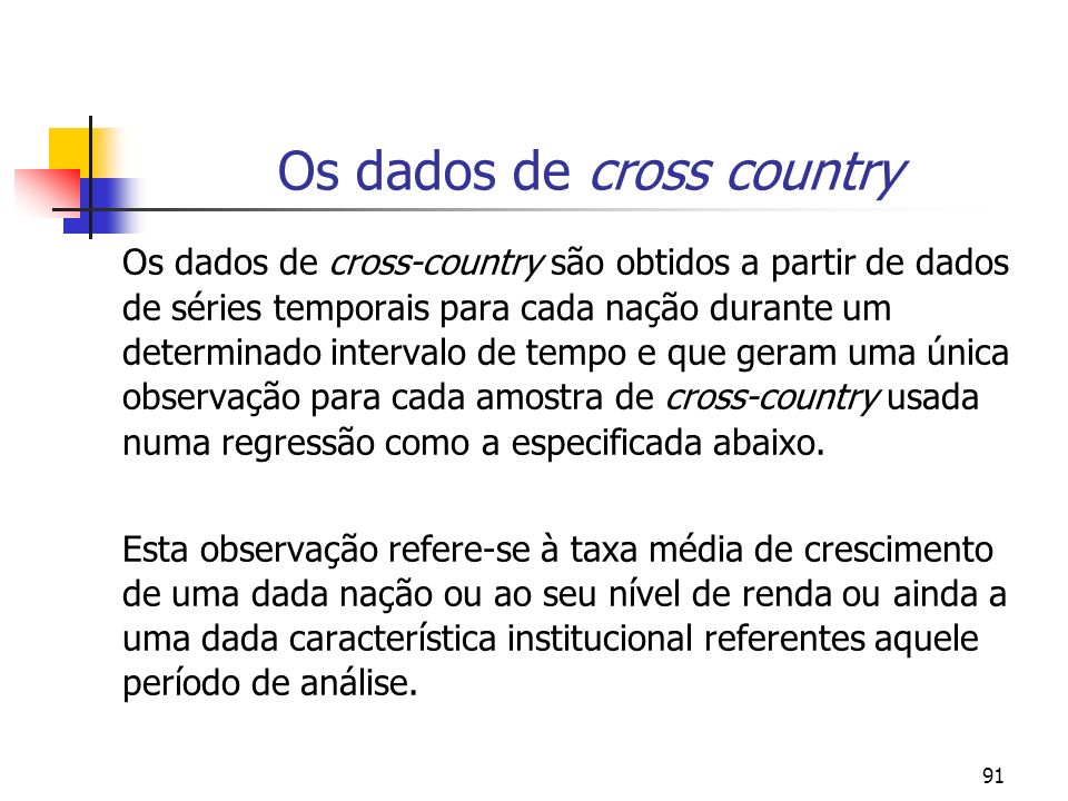 Os dados de cross country