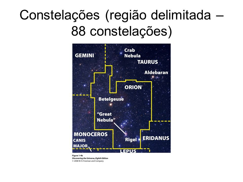 Constelações (região delimitada – 88 constelações)
