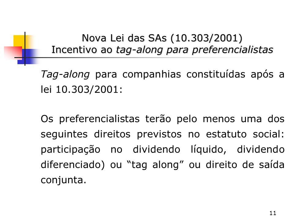 Nova Lei das SAs (10.303/2001) Incentivo ao tag-along para preferencialistas
