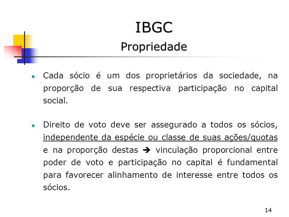 IBGC Propriedade Cada sócio é um dos proprietários da sociedade, na proporção de sua respectiva participação no capital social.