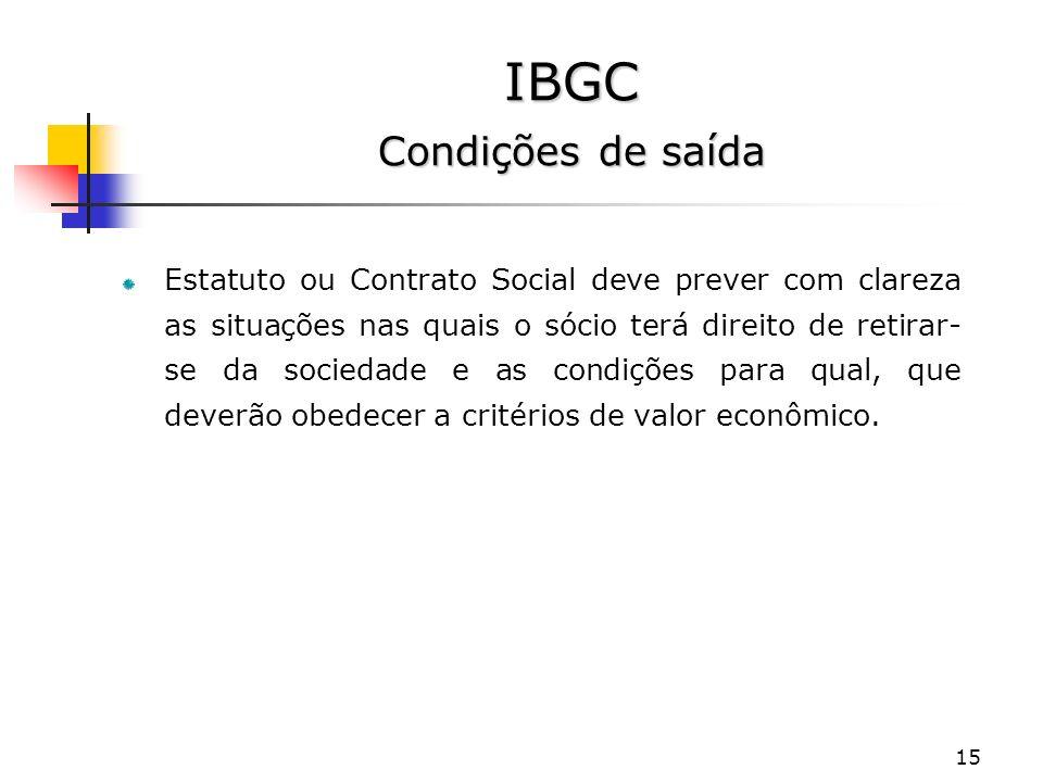 IBGC Condições de saída
