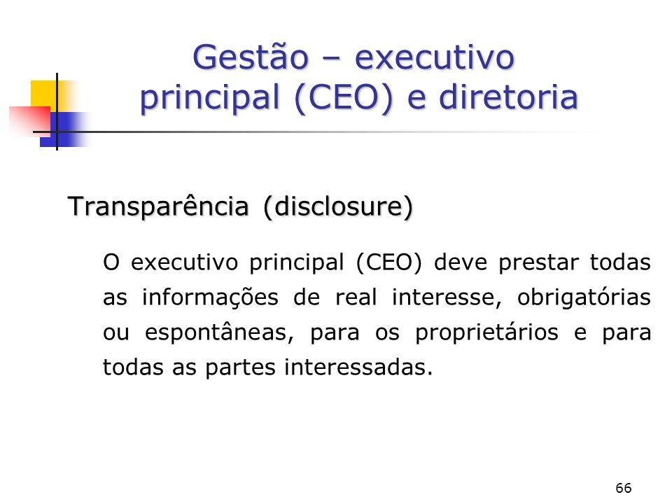 Gestão – executivo principal (CEO) e diretoria