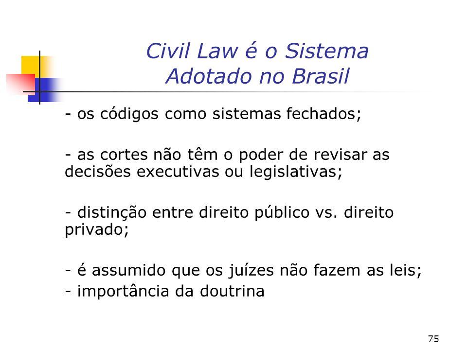 Civil Law é o Sistema Adotado no Brasil