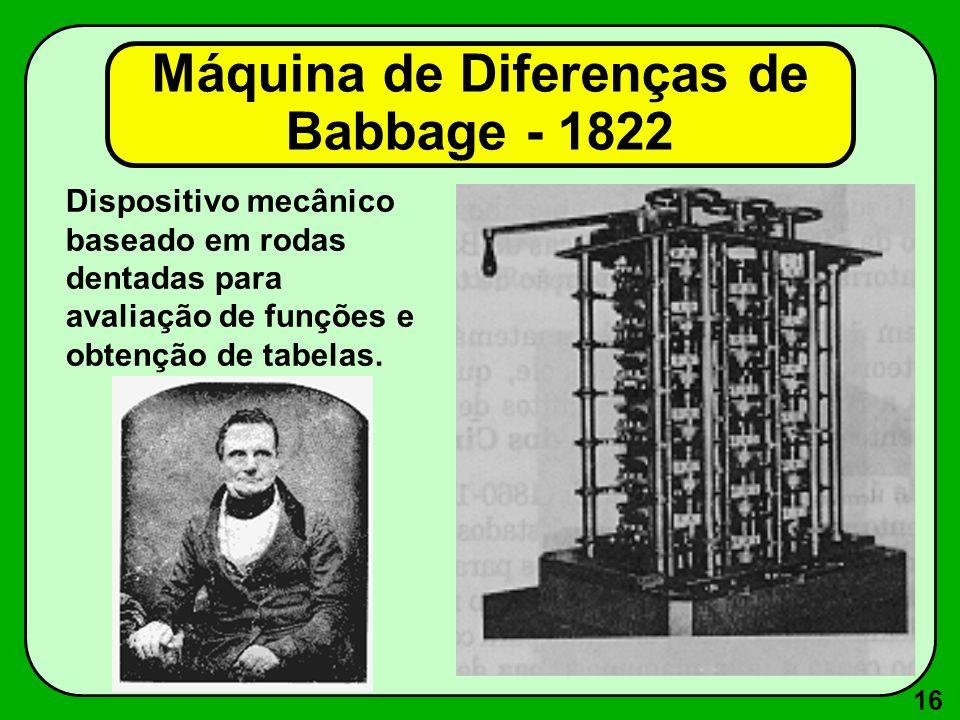 Máquina de Diferenças de Babbage - 1822