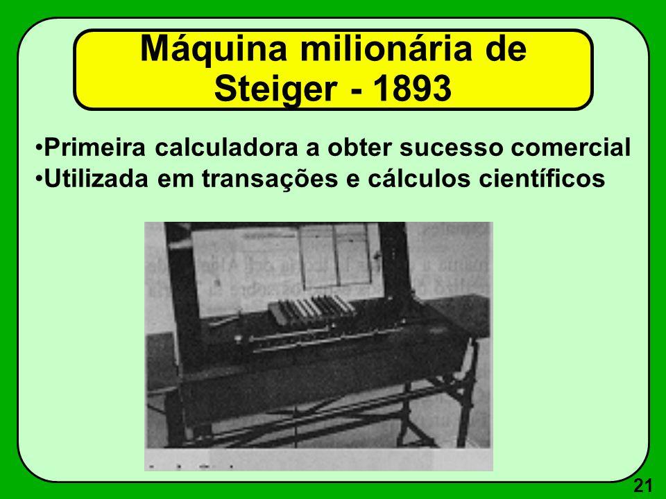Máquina milionária de Steiger - 1893