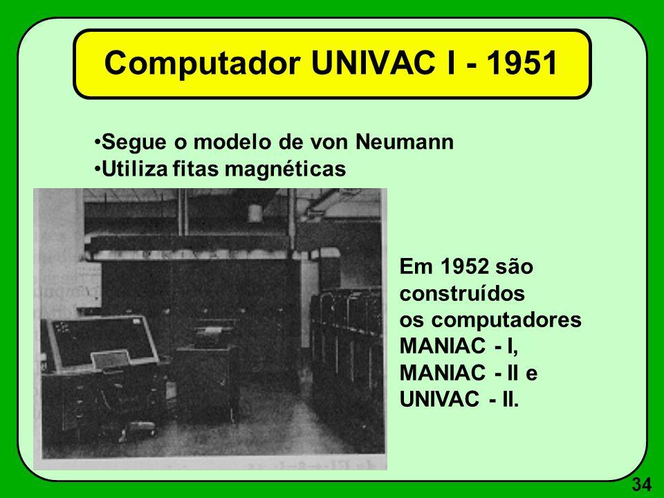 Computador UNIVAC I - 1951 Segue o modelo de von Neumann
