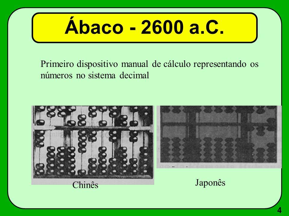 Ábaco - 2600 a.C. Primeiro dispositivo manual de cálculo representando os. números no sistema decimal.