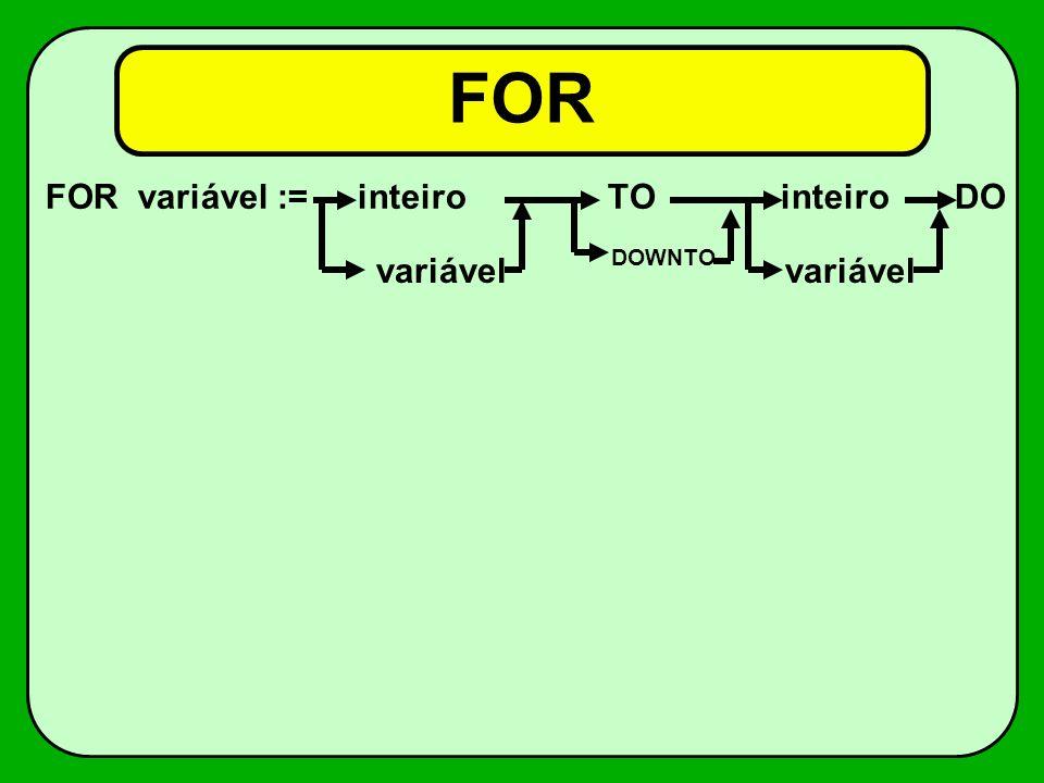 FOR FOR variável := inteiro TO inteiro DO. variável. DOWNTO.