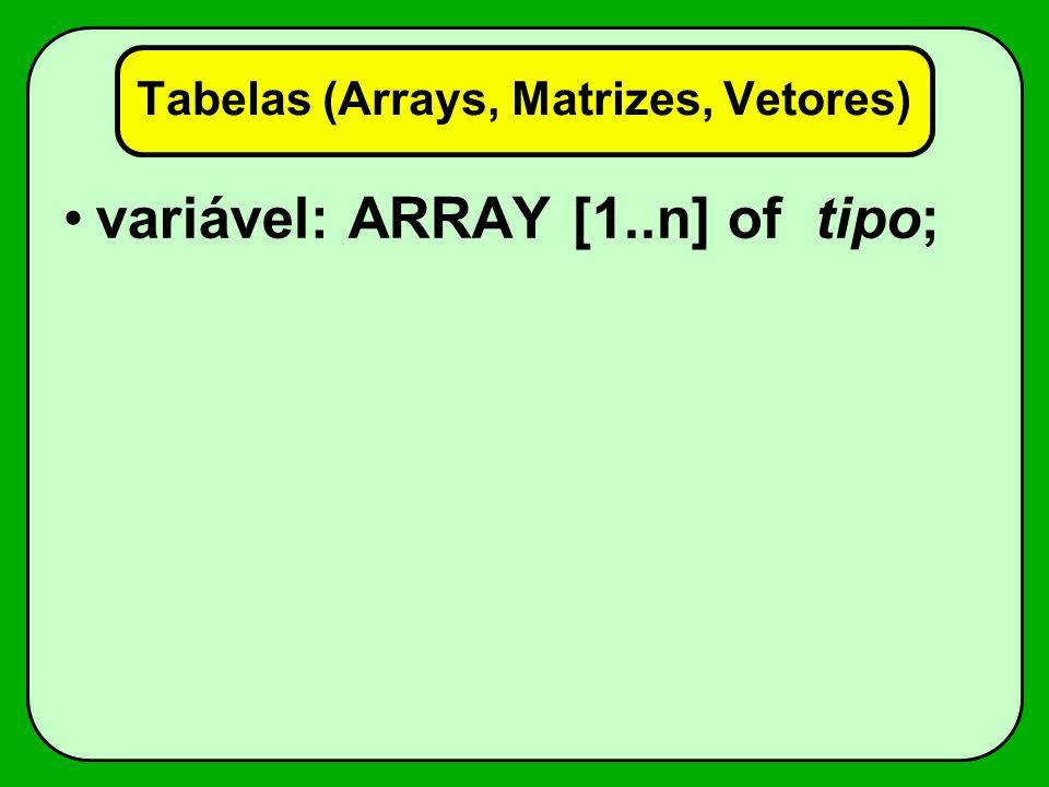 Tabelas (Arrays, Matrizes, Vetores)