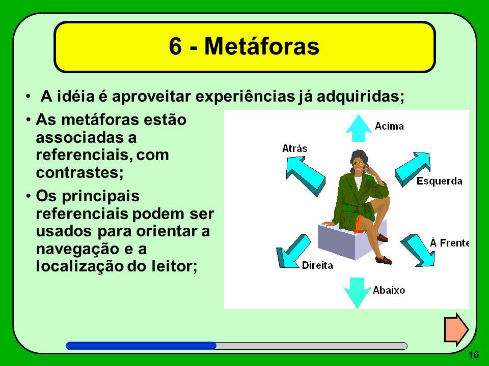 6 - Metáforas A idéia é aproveitar experiências já adquiridas;