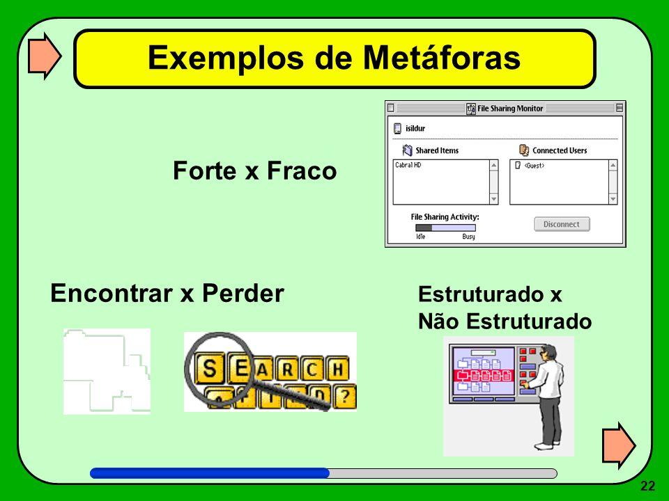 Exemplos de Metáforas Forte x Fraco Encontrar x Perder Estruturado x