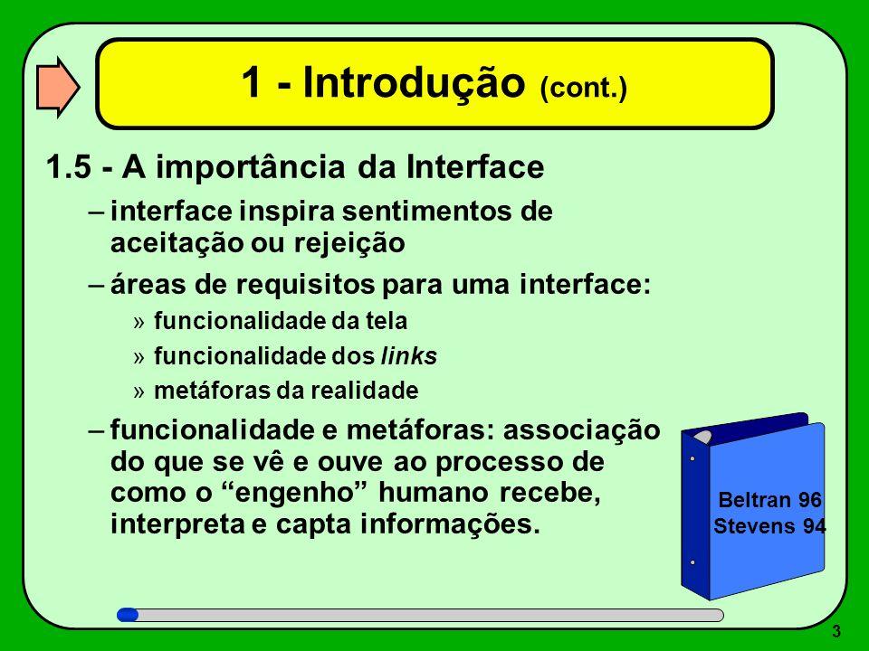 1 - Introdução (cont.) 1.5 - A importância da Interface